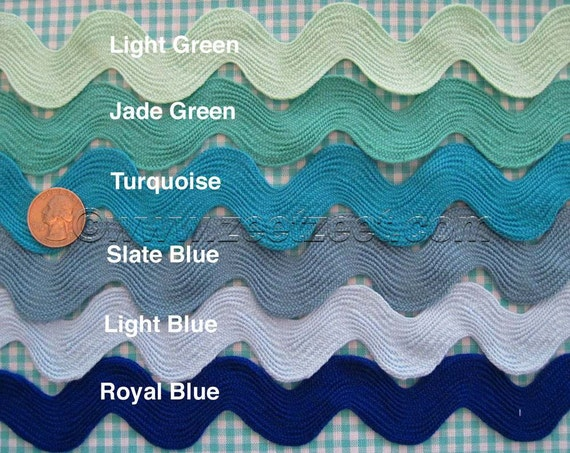 """.5 inch FLAT RATE SHIPPING half inch 49 Colors 4 Yard Cards Ric Rac 1//2/"""""""