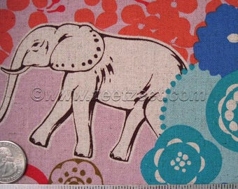 GRASSLANDS GIRAFFE Elephant Antelope Lilac Echino Cotton Linen Japanese Import Medium Weight Fabric Japan Orchid Turq Coral Blue YARD