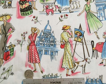 Retro Michael Miller SPRINGTIME IN PARIS France Quilt Fabric by the Yard, Half Yard, Fat Quarter French Eiffel Tower