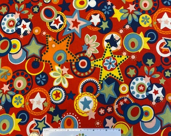 RODEO STAR RED Cotton Quilt Fabric - by Alexander Henry Western Wrangler Cowboy Stars Circles by the Half Yard, or Fat Quarter Fq