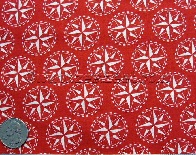 SALE COMPASS Red Sail Away Windham - Sailaway Nautical Coastal Cotton Quilt Fabric - by the Yard