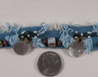 "Blue DENIM TRIM with Beads and Shells - 1.5"" Sewing Trim by the yard - Very Unique"