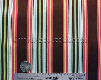 "Amy Butler HAMMOCK STRIPE Mocha Cotton Quilt Fabric - 31"" x 45"" Remnant - Gypsy Caravan Brown Mint Pink Yellow"