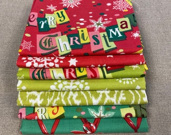 """Anna Griffin Vintage Look RETRO CHRISTMAS 7 FQ Set - Printed Cotton Quilt Fabric - 7 Fat Quarters 18 x 21"""" Rare & Out of Print"""