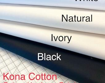 Robert Kaufman - Kona - Solid - Black - 100% Cotton Fabric by the Yard or Select Length KONA-BLACK White Natural Ivory