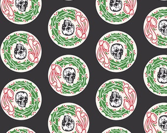 CHILLINGSWORTH HOLIDAY SKULLS Black Christmas Wreath Quilt Fabric - by the Yard, Half Yard, or Fat Quarter Fq by Echo Park