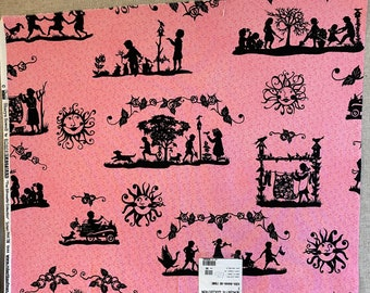 """PINK SILHOUETTE Black Quilt Quilting Fabric 100% Cotton by the Precut Fat Quarter Oop VALENTINE """"The Silhouette Collection"""" Robert Kaufman"""