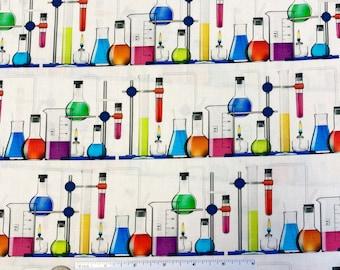 SCIENCE Fair 3 BRIGHT IDEA Fabric - Robert Kaufman Fabric - Scientific Chemistry Lab Beakers Pharmacy Fabric - Fabric by the Yard or Cut