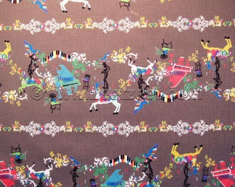 SALE Kayo Horaguchi MUSICAL CAROUSEL, Brown Cotton Linen Japanese Fabric - Home Dec Weight - by the Yard, Half Yard, or Fat Quarter