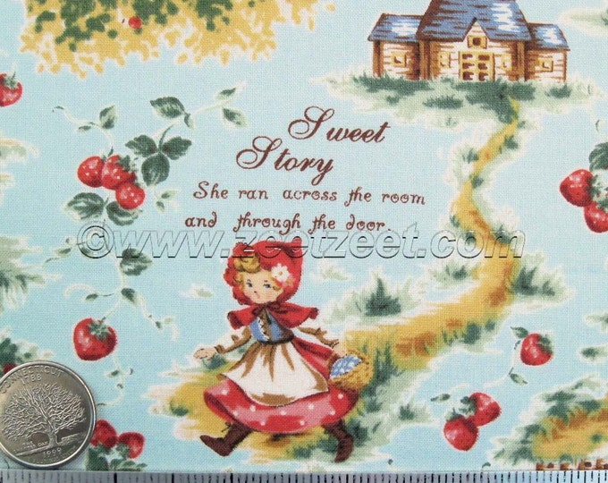 Lecien RED RIDING HOOD, Blue Quilt Fabric - Japanese Import by the Yard, Half Yard, or Fat Quarter
