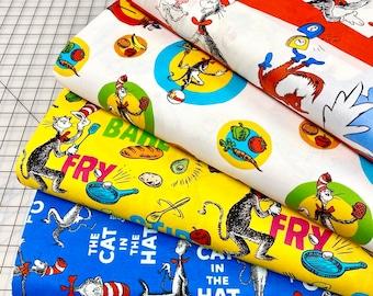Dr. Seuss CHEF COOKING Celebration Fabric - Set of 4 - Celebrate Seuss! - Quilt Fabric -  Robert Kaufman Fabrics