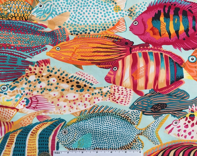 EXOTIC FISH Tropic Natural World Blue Pink Red Orange Ocean Quilt Fabric - by the Yard, Half Yard, or Fat Quarter Fq by Snow Leopard Designs