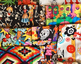 """FACE MASK KIT Edgy Pop Culture Designer Cotton Printed Quilt Fabric, Natural Lining, 1/4"""" Flat Elastic, 6"""" Flat Nose Wire Fast Free Shipping"""