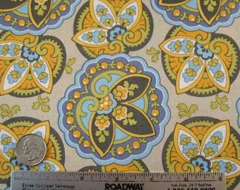 Amy Butler LOTUS STAR PAISLEY Sand Quilt Quilt Fabric - One Yard - Rare and out of Print Cream Tan Blue Citron