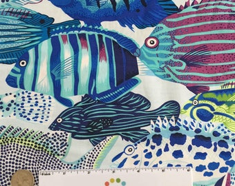 "13.5"" EXOTIC FISH Lagoon Blue Green Purple Ocean Natural World Quilt Fabric - 13.5"" x 45"" Last piece by Snow Leopard Designs"
