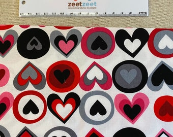 """Red Pink Black Grey HEARTS on WHITE Quilt Quilting Fabric 100% Cotton by the Precut Fat Quarter, Half Yard Oop VALENTINE """"All My Heart"""""""