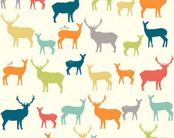 Sale Birch Fabrics ELK FAMILY Multi, Woodland Deer Silhouettes - ORGANIC Woven (Not Knit) Cotton Quilt Fabric - by the Yard, half yd, or Fq