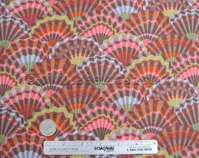 Kaffe Fassett PAPER FANS BROWN - Gp143 Cotton Quilt Fabric by the Yard Rust Gold Mauve