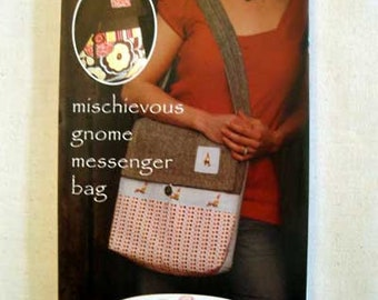 """Sewing Pattern """"Mischievous Gnome MESSENGER BAG"""" How To Make Instructions Directions Montessori by Hand Sew Liberated Handbag Backpack"""