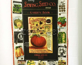 SEWING SEEDS PANEL Cream Vintage Gardening Quilt Fabric - by the Panel - J. Wecker Frisch - Vegetable Garden Fabric - Quilting Treasures