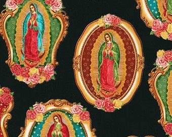 VIRGIN of Guadalupe BLACK Medallions Cotton Quilt Fabric Blessed Mary Mother Mexico City Mexican Catholic Holy Inner Faith