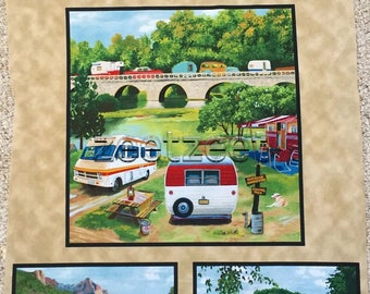 "TRAILER PANEL CAMPING Travel Camp Retro Cotton Quilt Fabric - by the 23"" x 45"" Panel"