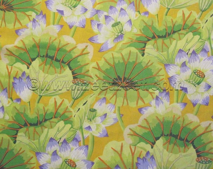 Kaffe Fassett LAKE BLOSSOMS Yellow Bright Citron Green GP93 Cotton Quilt Fabric by the Yard, Half Yard, or Fat Quarter Fq