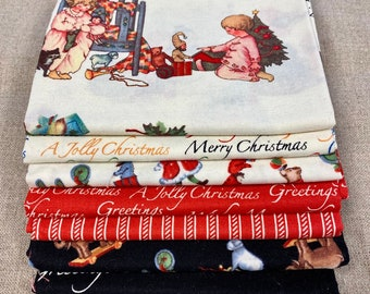 """Edelen Wille Vintage Look CHRISTMAS 7 FQ Set - Printed Cotton Quilt Fabric - 7 Fat Quarters 18 x 21"""" Rare & Out of Print"""