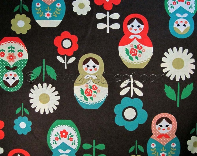 Japanese Large RUSSIAN DOLLS Brown Japan Oriental Quilt Fabric - by the Yard or Half Yard, Or Fat Quarter Matryoshka Nesting Doll Kokka