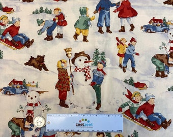 Dick & Jane DECEMBER Ivory Retro Cotton Quilt Fabric by Yard, Half Yard, or Fat Quarter Fq Alexander Henry RARE Out of Print Sageglen