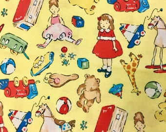 Sage Glen TOYS YELLOW Cotton Quilt Fabric by the Yard, Half Yard, or Fat Quarter Fq Alexander Henry RARE & Out of Print Small Scale Sageglen