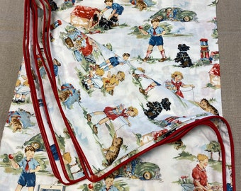 New TWIN Duvet Cover DICK & JANE 100% Cotton Custom Made, Neutral Red Piping, Button Closure Rare Fabric - Free Shipping