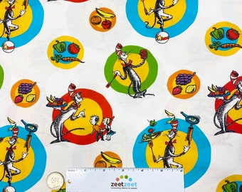 Dr. Seuss CHEF COOKING Fabric by the yard or cut - WHITE Circles Celebrate Seuss! - Quilt Fabric -  Robert Kaufman Fabrics