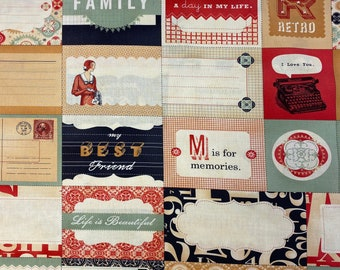"""ELEMENTS Labels Cream 37000 11 MODA Circa 1934 by Cosmo Cricket Quilt Fabric - by the 29"""" Remnant or Fat Quarter Fq RARE Out of Print"""