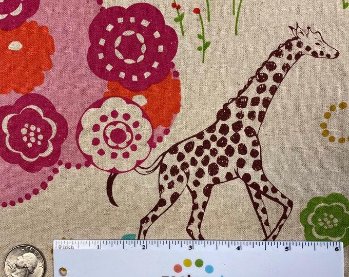 QUIET GROUND Giraffe Elephant Antelope Tan Japanese Fabric Import - Lightweight Canvas Japan by Etsuko Furuya Kokka Linen/Cotton