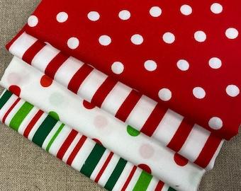 "CHRISTMAS Red Green 3 or 4 FQ Set Printed Cotton Quilt Fabric - Fat Quarters 18 x 21"" Robert Kaufman Poplin"