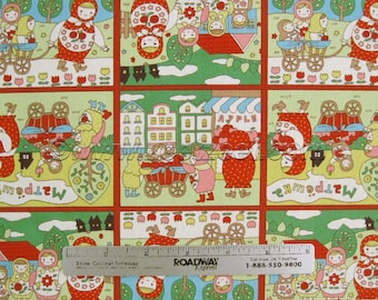 Sale Russian NESTING DOLLS Green Squares 100% Cotton Japanese Fabric Matryoshka Matpewka Import - Medium Weight Canvas Kawaii Comic Doll