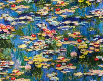 CLAUDE MONET - Water Lilies - Cotton Fabric - Robert Kaufman - by the Yard or Select Length
