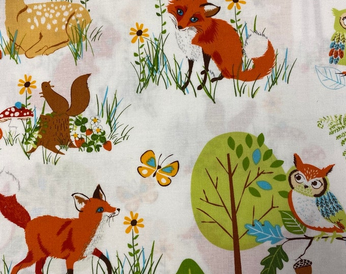 Wild FOREST FELLOWS Woodland Animals Cotton Fabric - Robert Kaufman - by the Yard or Select Length - Quilting Quilt Fabric