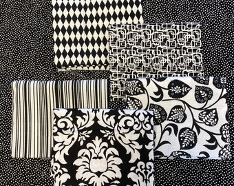 5 BLACK and WHITE and Black and Cream Fat Quarter Bundle Quilt Fabric - FREE Shipping