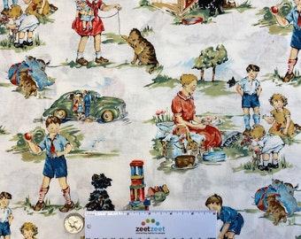 VINTAGE Kids WHITE Dick & Jane Retro Cotton Quilt Fabric by Yard, Half Yard, or Fat Quarter Fq Alexander Henry RARE Out of Print Sageglen