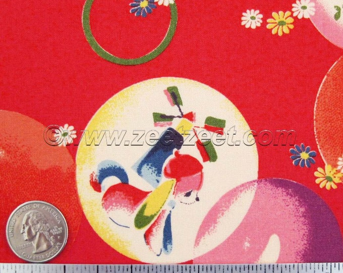Kokka RETRO BUBBLES, RED Quilt Fabric - Japanese Import