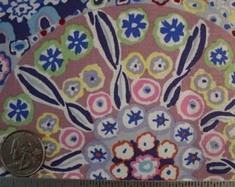 """Kaffe Fassett MILLEFIORE PASTEL GP92 Blue Quilt Fabric - Rare and Out of Print - Hard to find Remnant 26"""" x 45"""""""