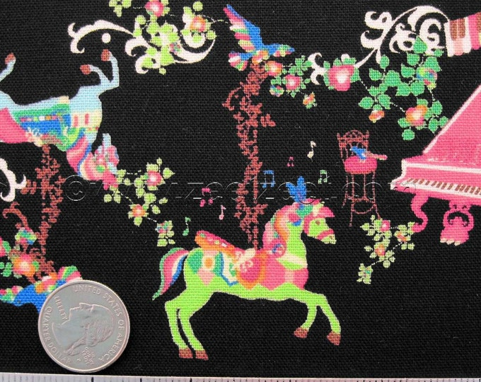 MUSICAL CAROUSEL, BLACK Cotton Linen Imported Japanese Fabric - Home Dec Weight by the Yard - Kayo Horaguchi