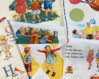 """Rare DICK & JANE 100% Cotton Quilt Fabric by Michael Miller Fat Quarters 18 x 22"""" Fq You Choose Design All Out of Print"""