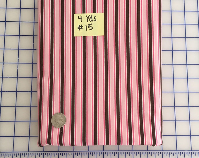 SALE 4 Yds - Light Pink, Hot Pink, Brown STRIPE #15 Robert Kaufman Pimatex Cotton Quilt Dress Fabric Basics