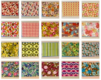 """Mod FLORAL GEOMETRIC Fat Quarters 100% Cotton Quilt Fabric Robert Kaufman 18 x 22"""" Fq You Choose Great for Mask Making RARE & Out of Print C"""