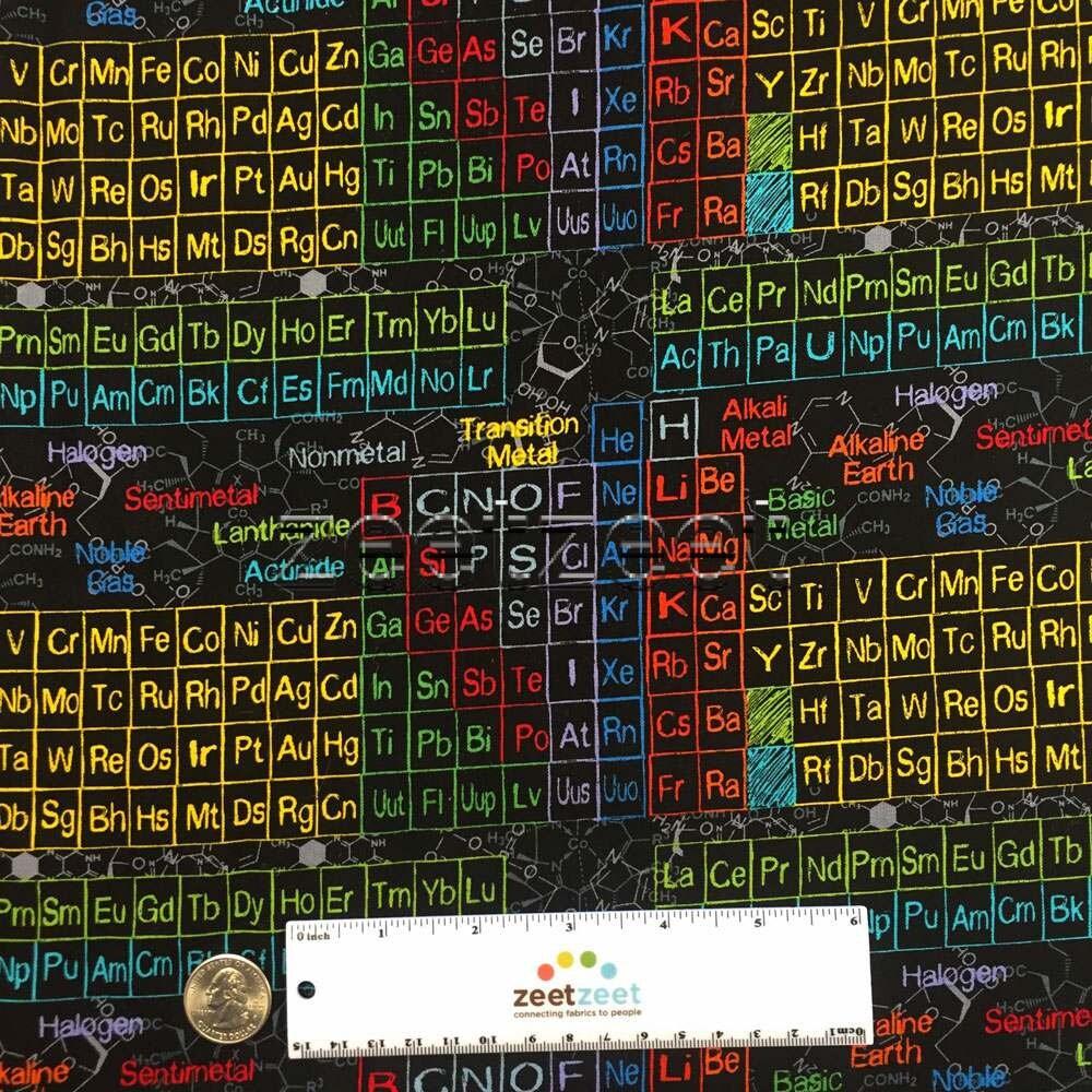 Periodic table of elements black multi cotton science fabric by the periodic table of elements black multi cotton science fabric by the yard half yd or fat quarter scientific method nerd geek stem school urtaz Images