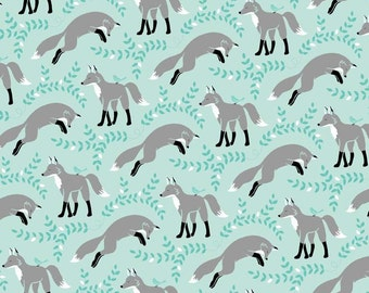 LES AMIS Socks The FOX Aqua Foxes - Patty Sloinger Collection Cotton Quilt Fabric - by the Precut Remnant Last Available/Rare Out of Print