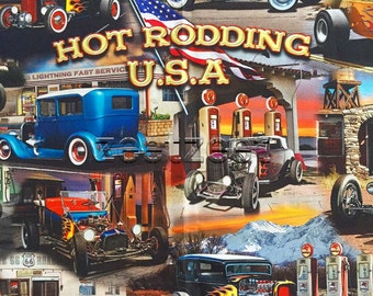 "HOT RODDING USA Car Panel Quilt Fabric - by the 24"" Panel Cotton Cars Route 66 Digitally Printed"